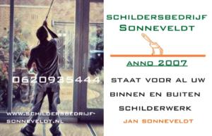 Visite kaartje Schildersbedrijf Sonneveldt